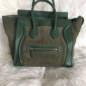 Army green Celine Mini Luggage Leather and Suede